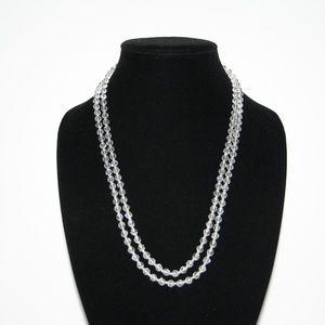 "Stunning vintage crystal necklace 48"""